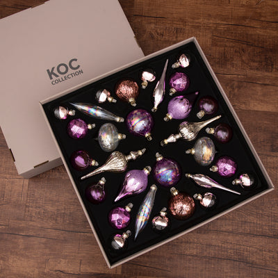 Sweet 30-Piece Glass Ornament Set (Pink - Purple) Limited Edition