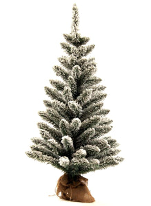 (OPEN BOX) 3' King Flock® Artificial Christmas Tabletop Tree with 50 Warm White LED Lights. FINAL SALE