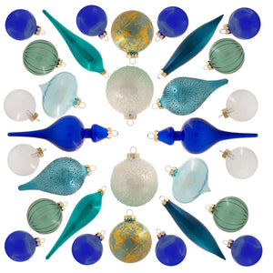 Snowflake 30-Piece Glass Ornament Set (Blue) Limited Edition