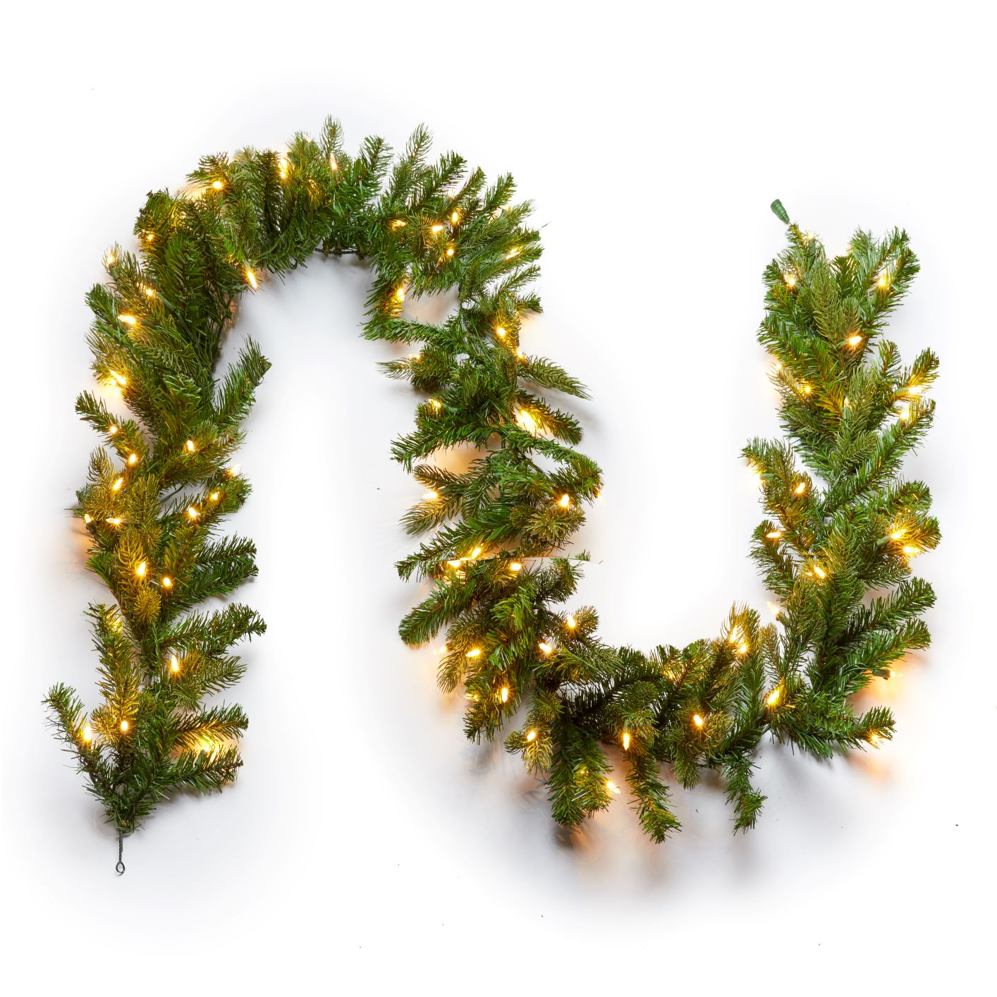 "9' x 12"" Cypress Spruce Garland with Warm White LED Lights (Plug Operated)"