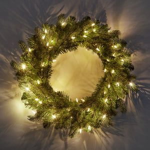 "24"" Cypress Spruce Wreath with Warm White LED Lights (Battery Operated)"
