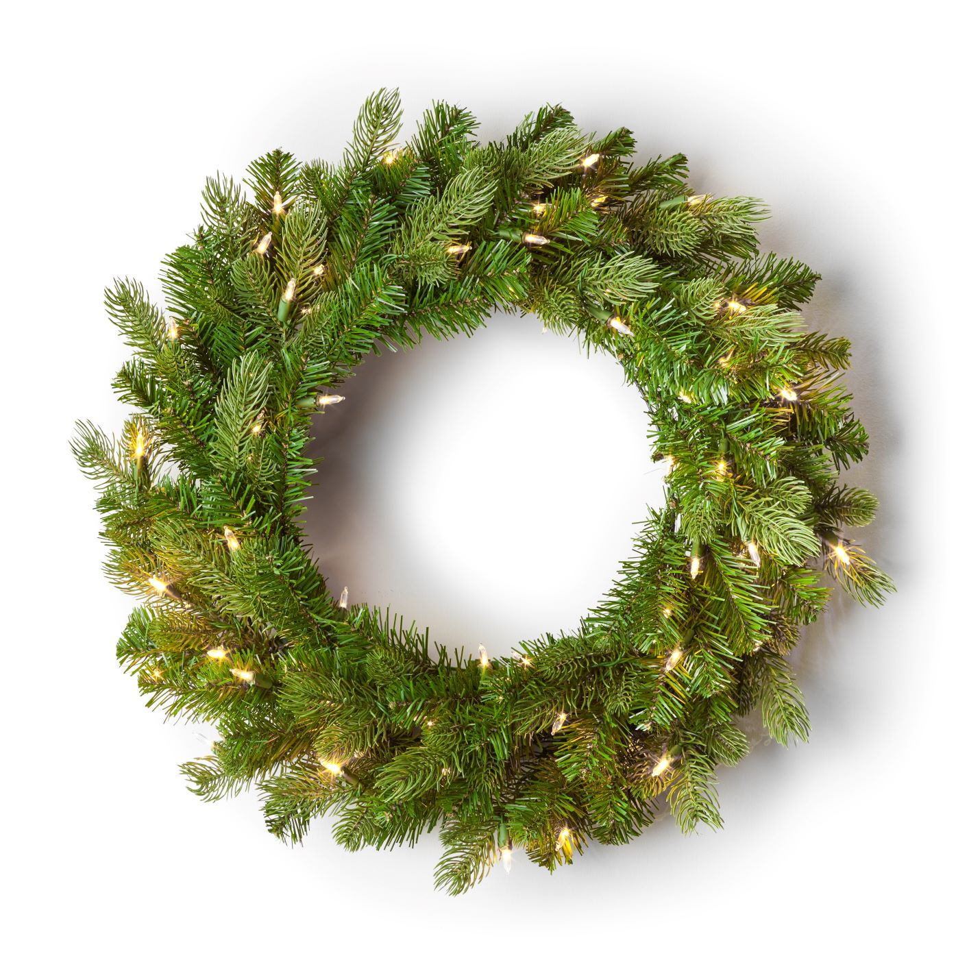 "24"" Cypress Spruce Wreath with Warm White LED Lights (3D Battery Operated)"
