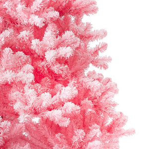 7.5' Duchess Pink Flock Artificial Christmas Tree with 600 Warm White LED Lights