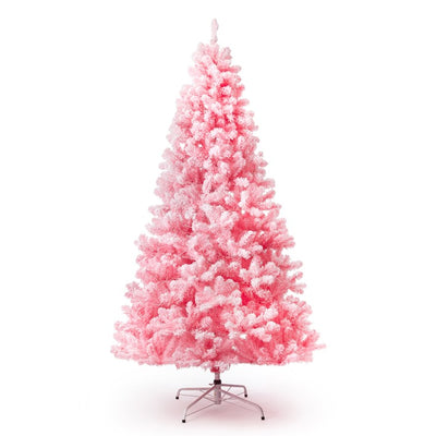 7.5' Pink Flock Artificial Christmas Tree with 600 Warm White LED Lights