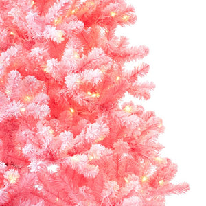 6.5' Duchess Pink Flock Artificial Christmas Tree with 500 Warm White LED Lights