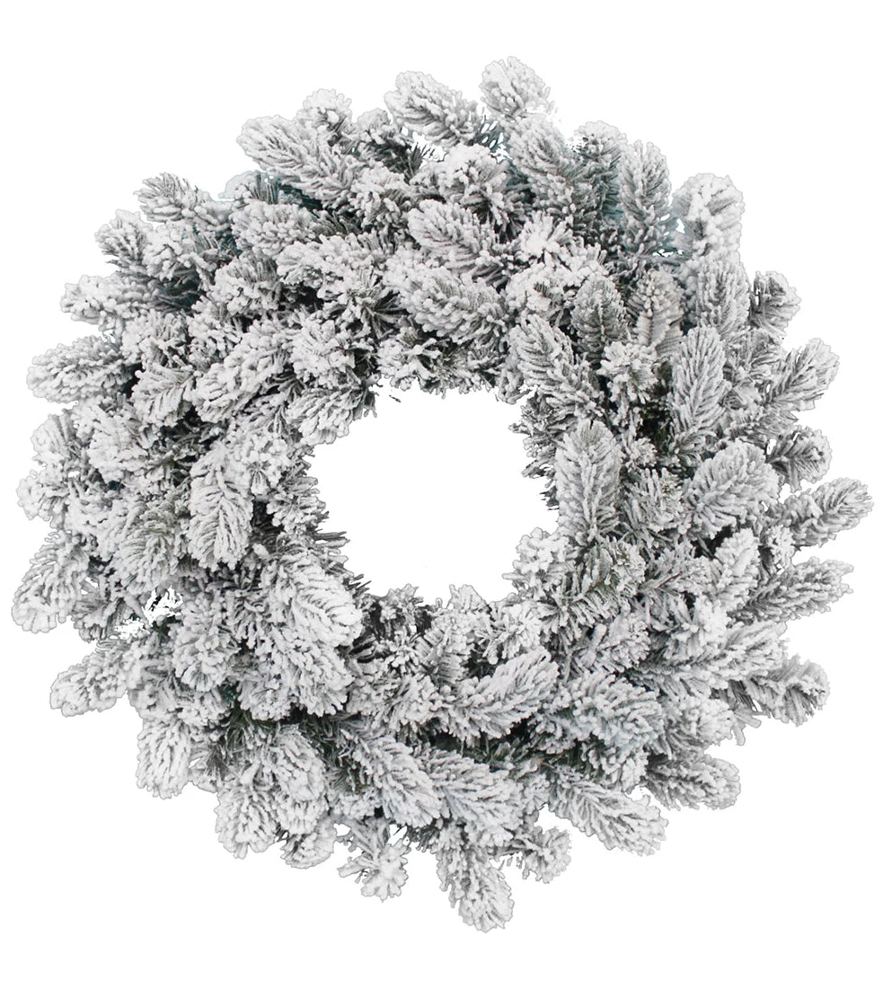 "24"" King Flock® Wreath Unlit"