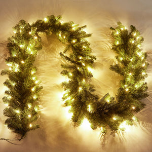 "9' x 12"" King Douglas Fir Garland With 100 Warm White LED Lights"