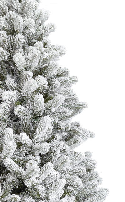 12' King Flock® Quick-Shape Artificial Christmas Tree with 1650 Warm White LED Lights