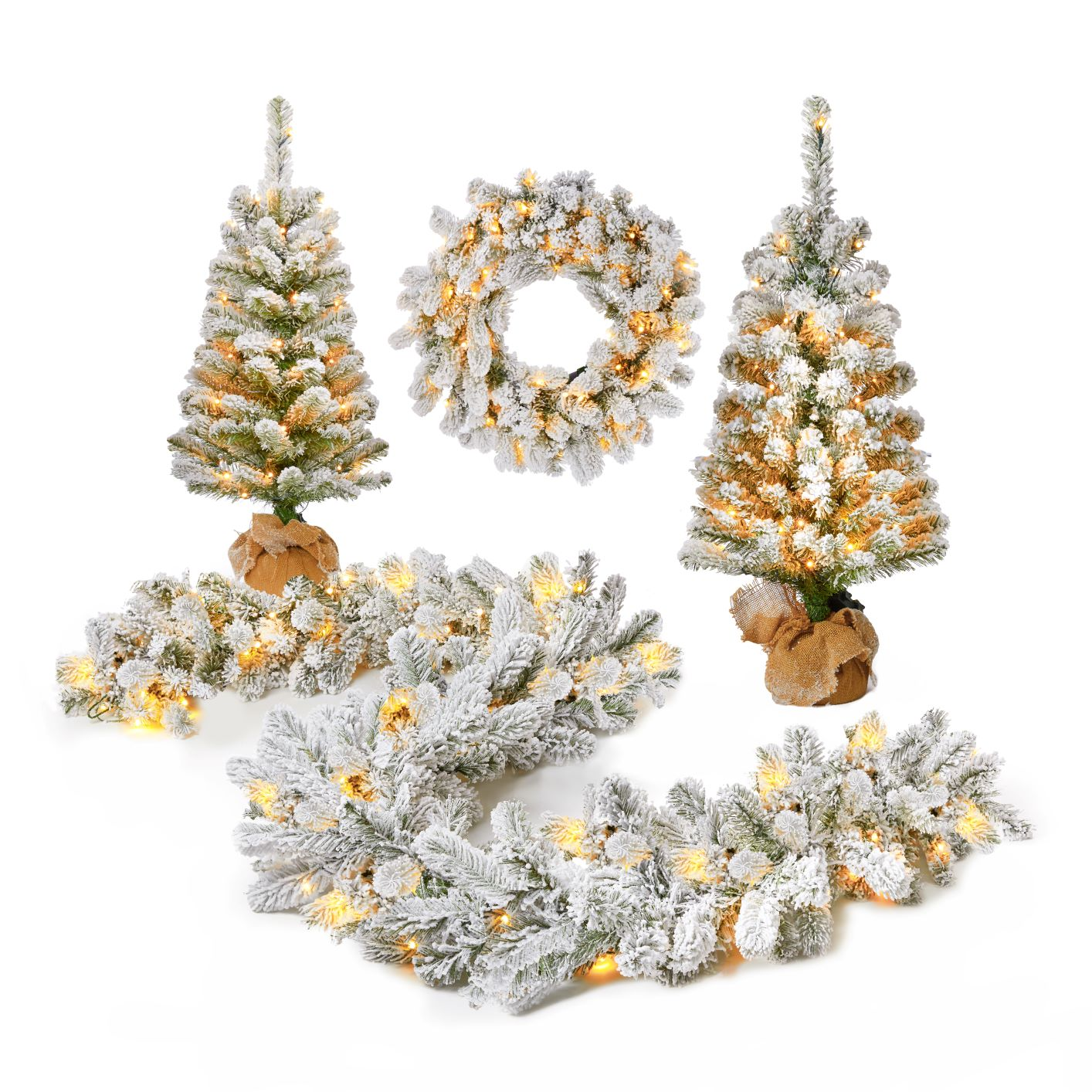 King Flock Collections(1x24'' Wreath, 1x 9'x12'' Garland and 2x3' Entrance Trees Bag) Warm Whie LED Lights (Battery Operated)