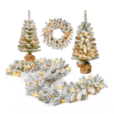 King Flock® Collection 4-Piece Set with Warm White LED Lights (Plug or Battery Operated)
