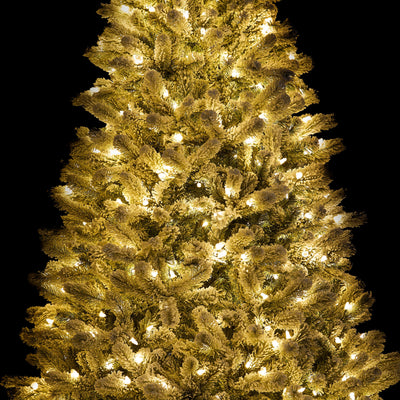 9' King Flock® Artificial Christmas Tree with 1100 Warm White LED Lights
