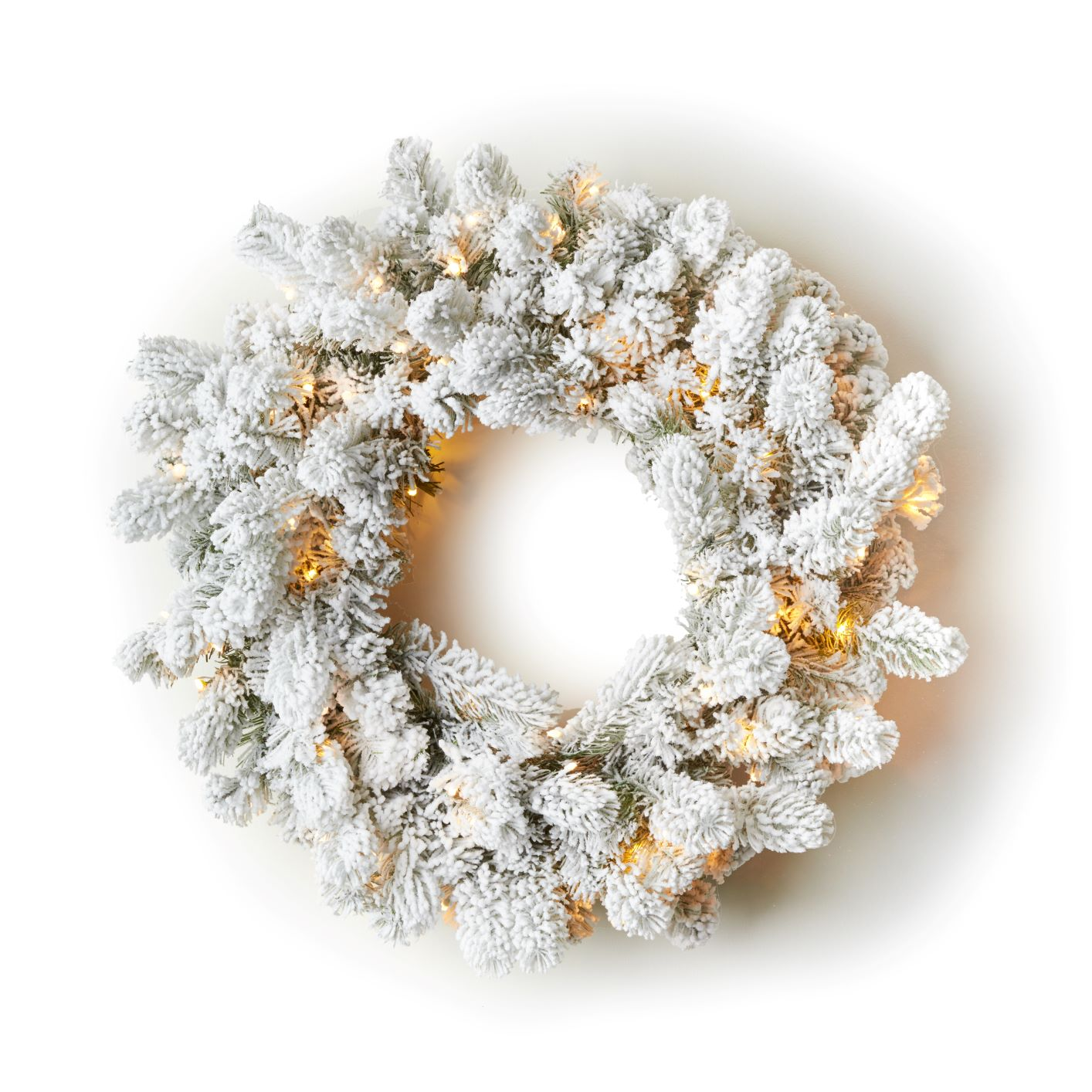 "24"" King Flock® Wreath with Warm White LED Lights (Battery Operated)"