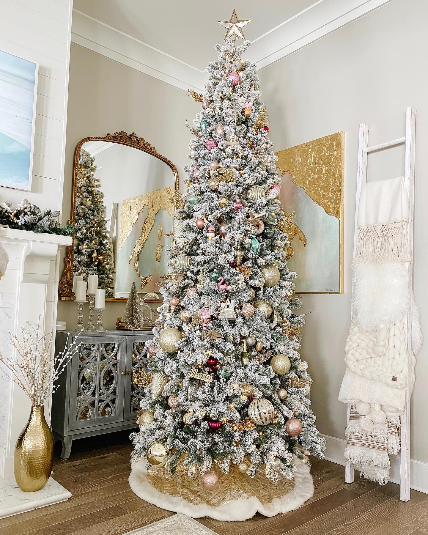 9 Foot King Flock Slim Artificial Christmas Tree Unlit ...