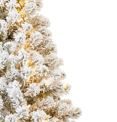 (OPEN BOX) 8' Prince Flock® Tree with 550 Warm White LED Lights , FINAL SALE