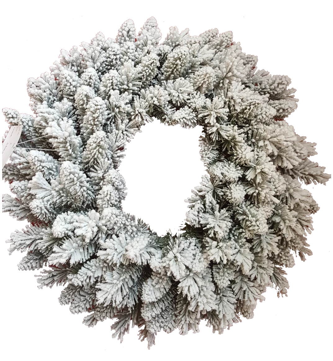 "24"" Prince Flock Wreath with Warm White LED Lights (Battery Operated)"