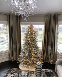 8' Queen Flock® Artificial Christmas Tree with 900 Warm White LED Lights