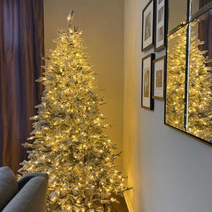 (OPEN BOX) 9' Queen Flock® Artificial Christmas Tree with Warm White LED Lights. FINAL SALE