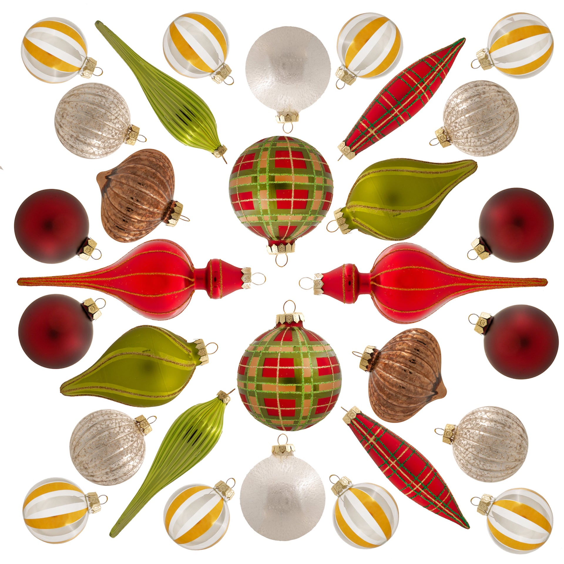 Traditional 30-Piece Glass Ornament Set (Red - Green) Limited Edition