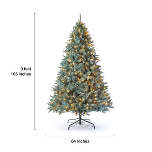 9' Tribeca Spruce Blue Artificial Christmas Tree with 900 Warm White LED Lights