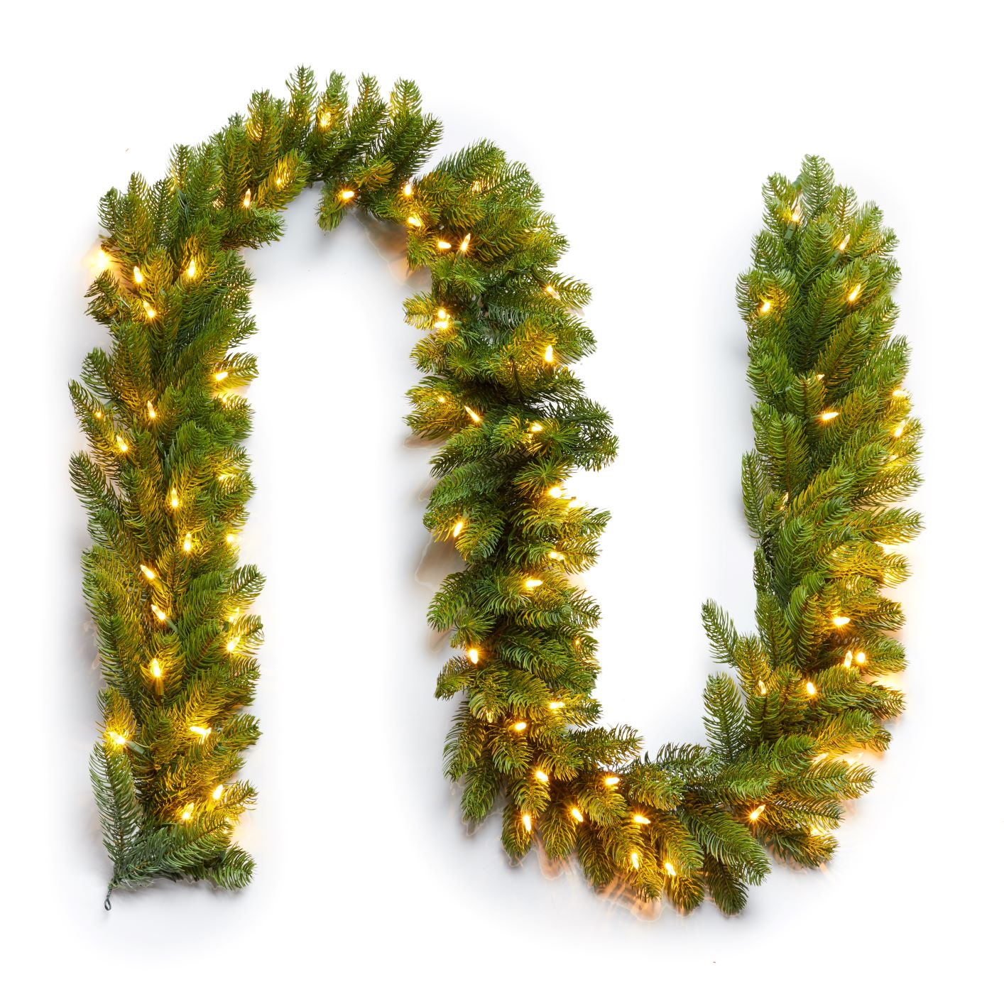 Artificial Christmas Garland.9 X 10 Royal Fir Garland With Warm White Led Lights Plug Operated