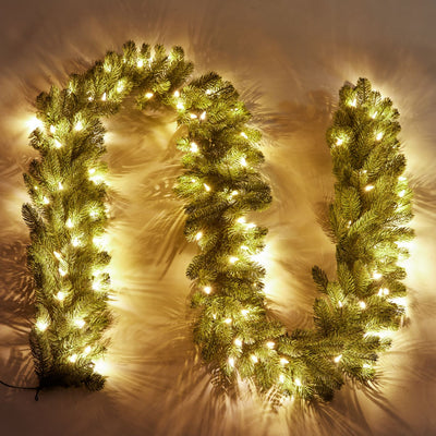 "9' x 10"" Royal Fir Garland with Warm White LED Lights (Plug Operated)"