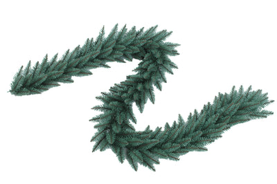 "9' x 12"" Tribeca Spruce Blue Garland with Warm White LED Lights (Plug Operated)"