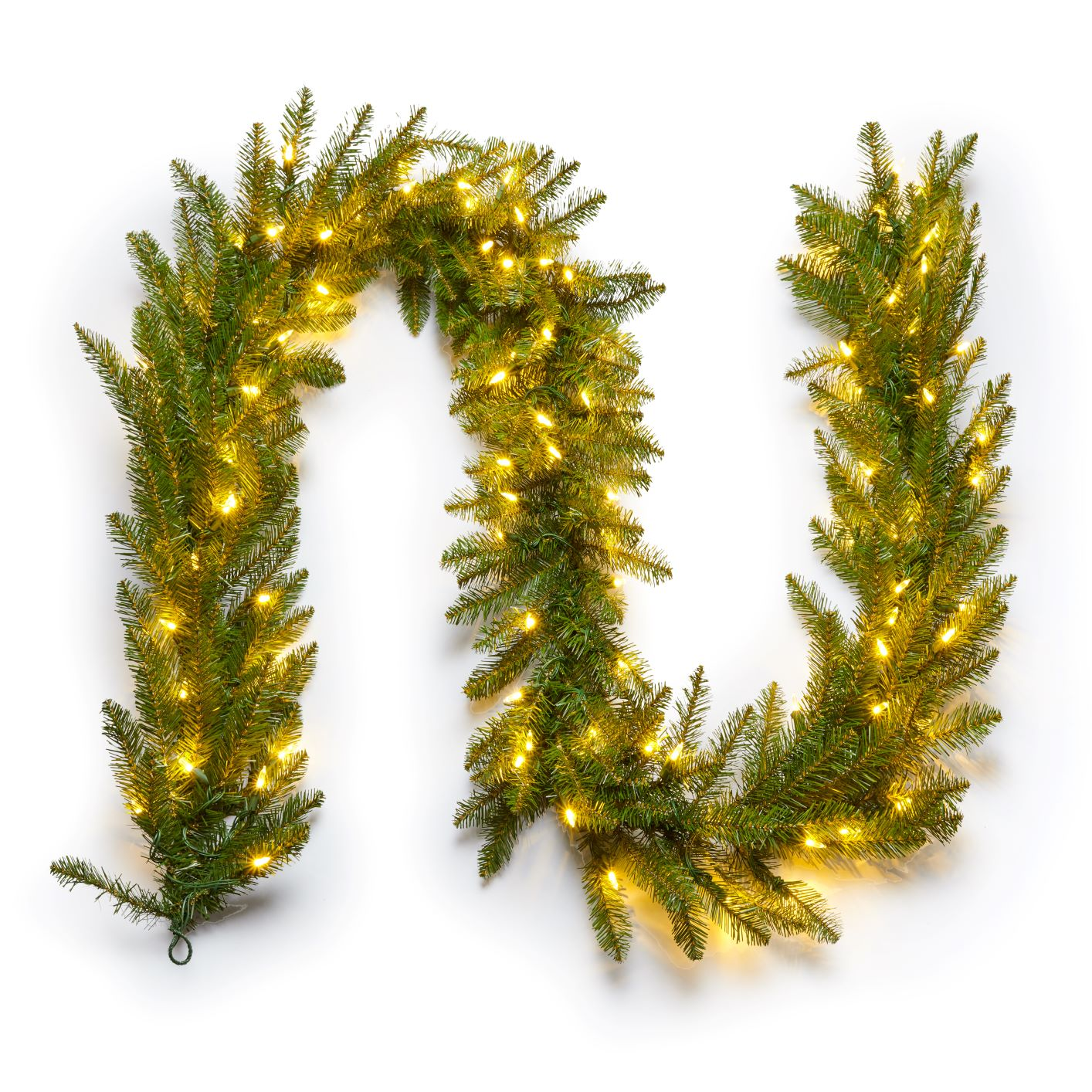 "9' x 12"" Yorkshire  Fir Garland with Warm White LED Lights (Plug Operated)"
