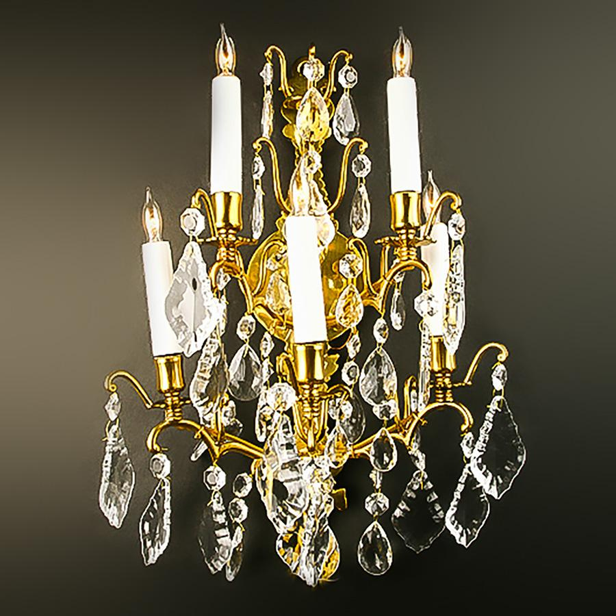 3214-261G5LP L310201 Pair 5 Light Sconces Bronze & Crystal (20Hx14Wx8D)