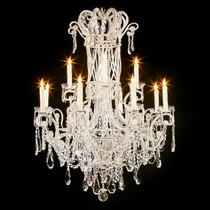3214-43L12 LT310401 12 Light Iron & Crystal Chandelier-Silver Finish (51Hx36D)