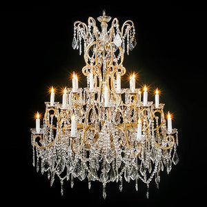 3214-7774L24 L310801 12+8+4 24 Light Three Tier Beaded Crystal Chandelier (48Hx40D)