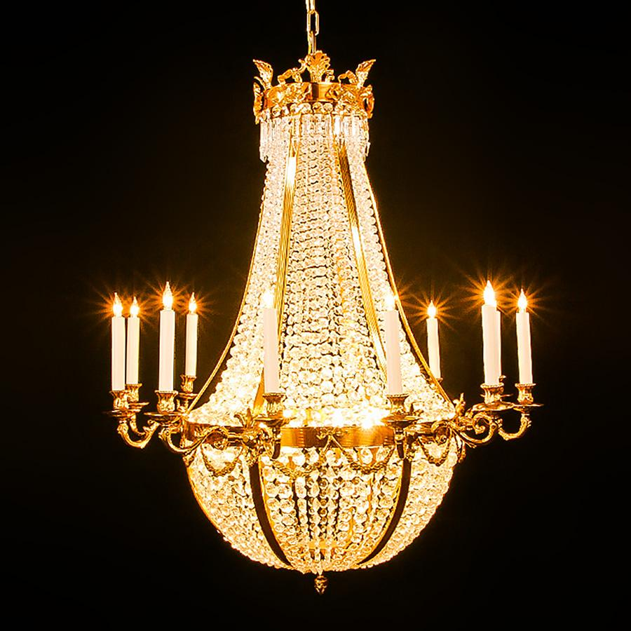 3214-790L16 L311001 12+4 16 Light Two Tier Bronze & Crystal Empire Chandelier (44Hx40D)