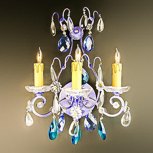 7730-MB0439L3P L710101 Pair 3 Light Iron & Crystal Sconces-Blue Finish (14.5Hx13W)