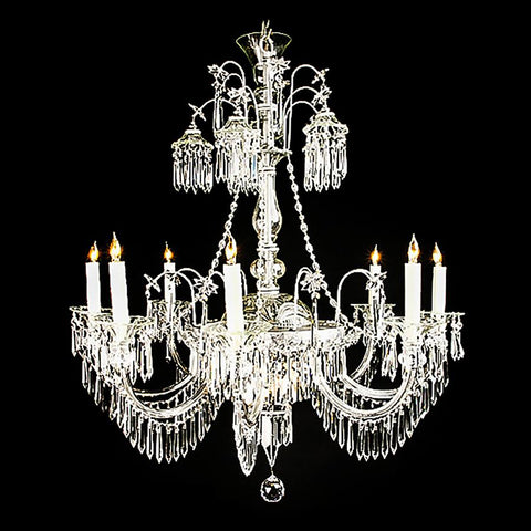 7730-MD0338L9 L710401 9 Light Crystal Chandelier-Silver Finish (39Hx33D)