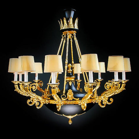 7730-MD0350L12 L710501 12 Light Black Patined Chandelier w/Shades (47Hx50D)