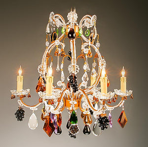 7730-MD0423L6 L711201 6 Light Iron & Crystal Chandelier-Multi Color Fruit (22Hx24D)