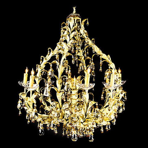 7730-MD0427L9 L711501 9 Light Iron & Crystal Chandelier (35Hx30D)
