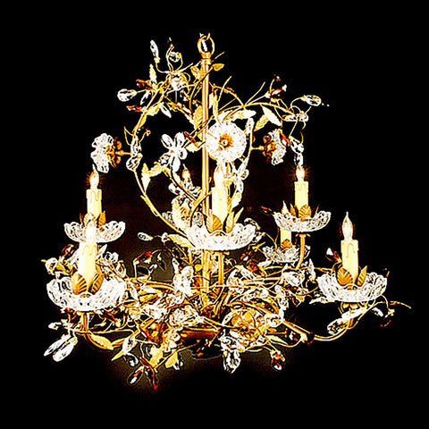 7730-MD0455L8 L711601 8 Light Iron & Crystal Chandelier (32Hx32D)