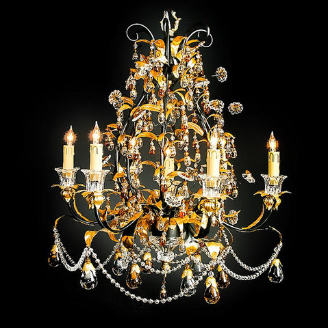 7730-MD0462L7 L711701 7 Light Iron & Crystal Chandelier-Black & Gold (30Hx27D)