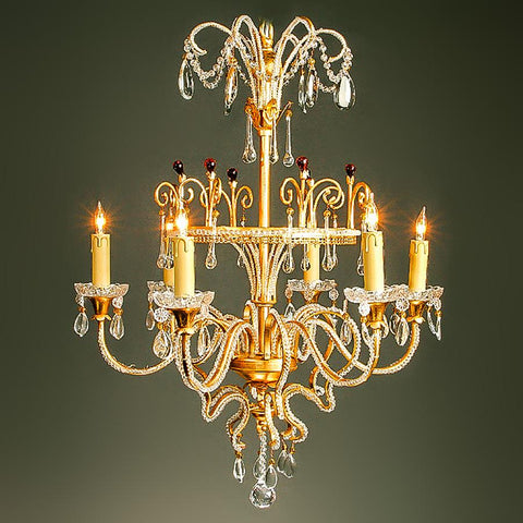 7730-MD0468L6 L711801 6 Light Iron & Crystal Chandelier (25Hx25D)