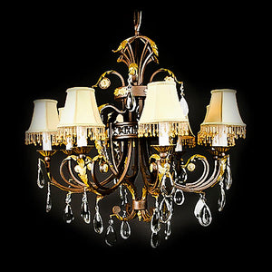 7730-MD0474L8 L711901 8 Light Iron & Crystal Chandelier w/Shades-Patinaed Finish Gold Leaf (34Hx33.5D)