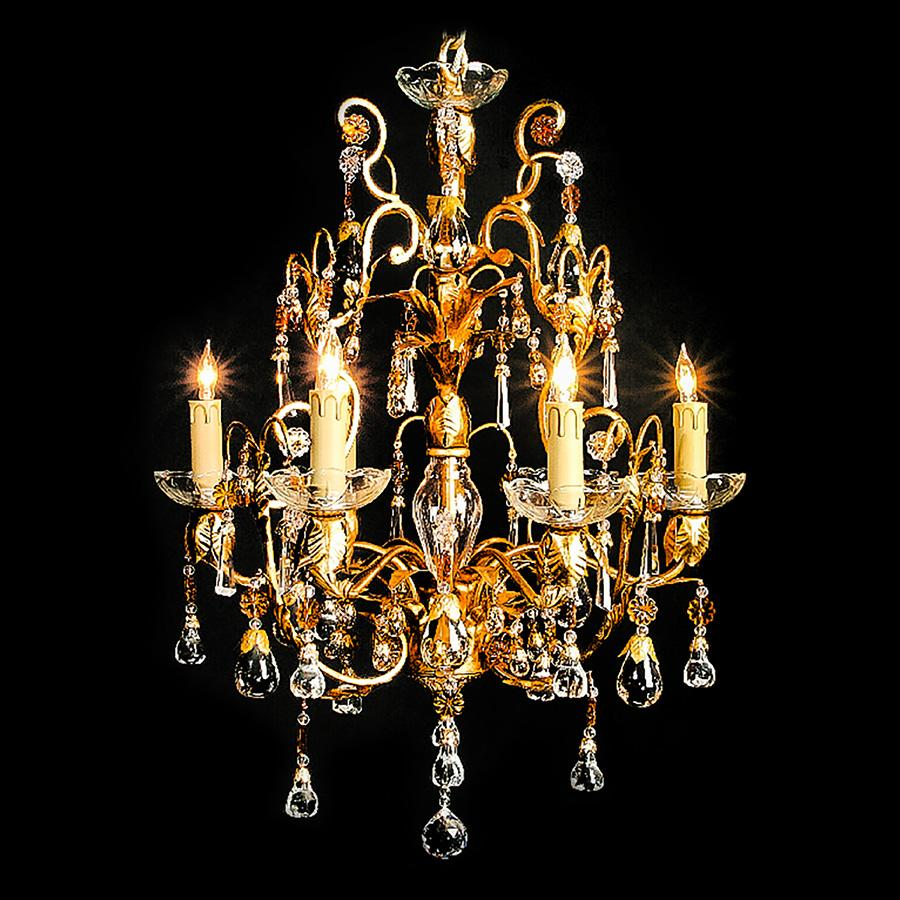 7730-MD0485L6 L712001 6 Light Iron & Crystal Chandelier-Gold (25Hx21D)