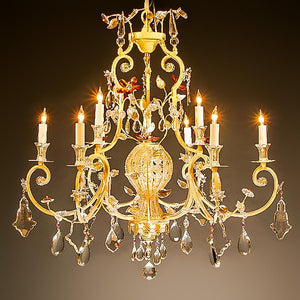 7730-MD0493L10 L712101 10 Light Iron & Crystal Chandelier (30Hx32D)