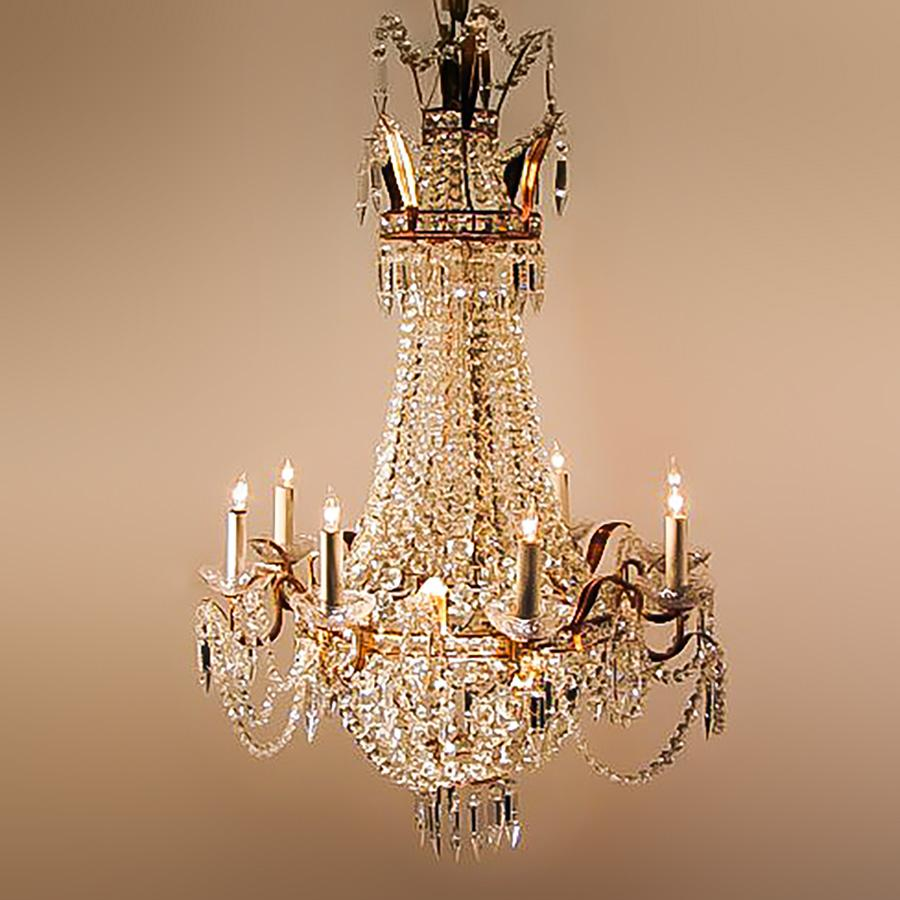 7730-MD0604L8 L712401 8 Light Empire Style Chandelier (43Hx28D)