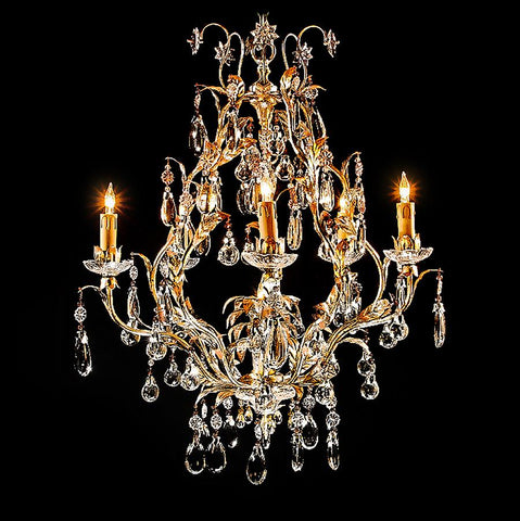 7730-MD4111L6 L712801 6 Light Iron & Crystal Chandelier-Silver Finish (35Hx25D)