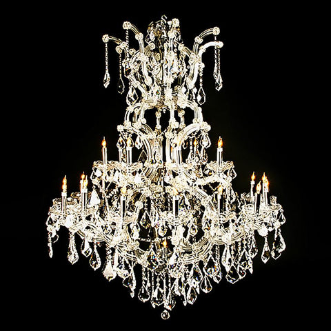 7730-MD505L25 L713001 25 Light Metal & Crystal Chandelier Silver Finish-Glass Arms (58Hx42D)