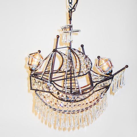7731-BOATAG L720101 Small Boat Chandelier In Patinaed Finish (24Hx22Lx10D)
