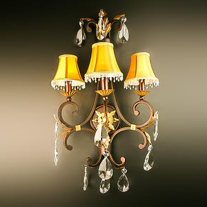 7732-D4992L3 L730401 Pair 3 Light Iron & Crystal Sconces w/Shades-Patinaed Finish (33Hx18W)