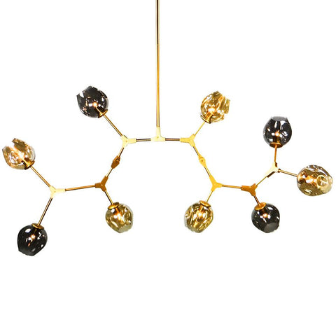7748-88L9G L770201 9 Light Articulating Arm Chandelier w/Gold Finish & Smoke/Cognac Shades (Includes Extra Rods) (36-72Hx60L)
