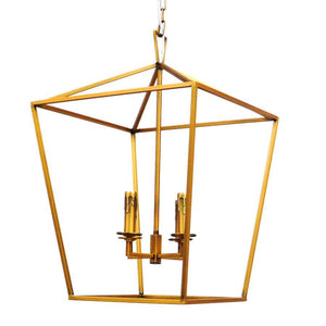 7749-815L4GAB L780701 4 Light Chandelier Gold w/Antique Brass Dishes (25Hx17Wx17D)