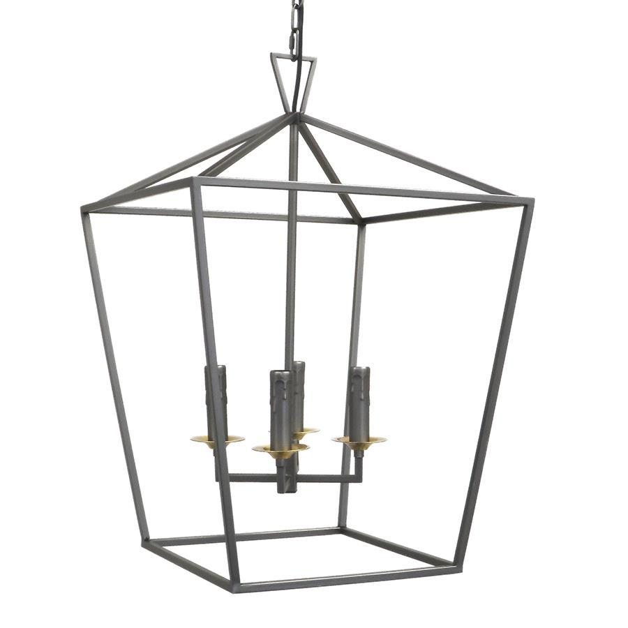 7749-815L4GYC L780702 4 Light Chandelier In Gunmetal Gray w/Copper Finish Dishes (25Hx17Wx17D)